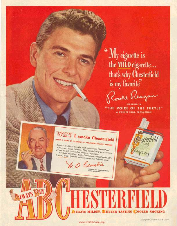 Ronald Reagan Chesterfield Advertisements